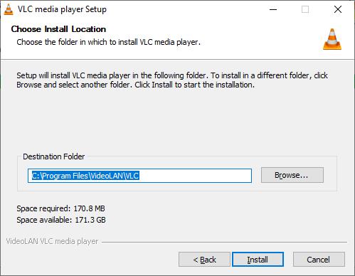 Ang lokasyon sa Pag-instalar sa VLC