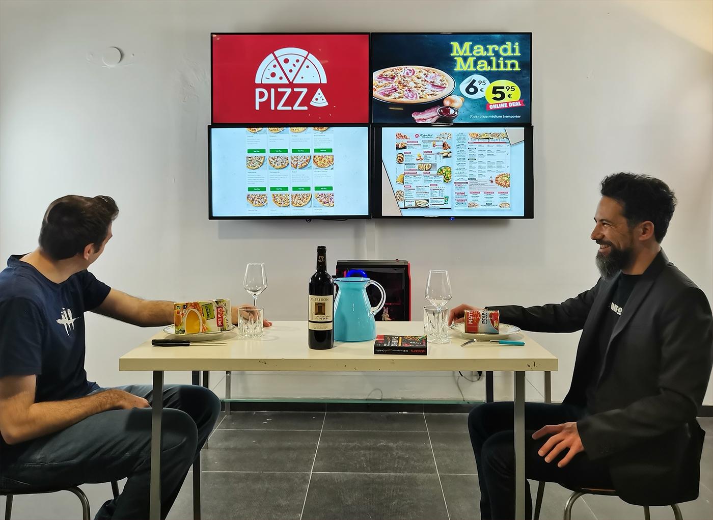 Mga tabla sa menu alang sa pizzeria