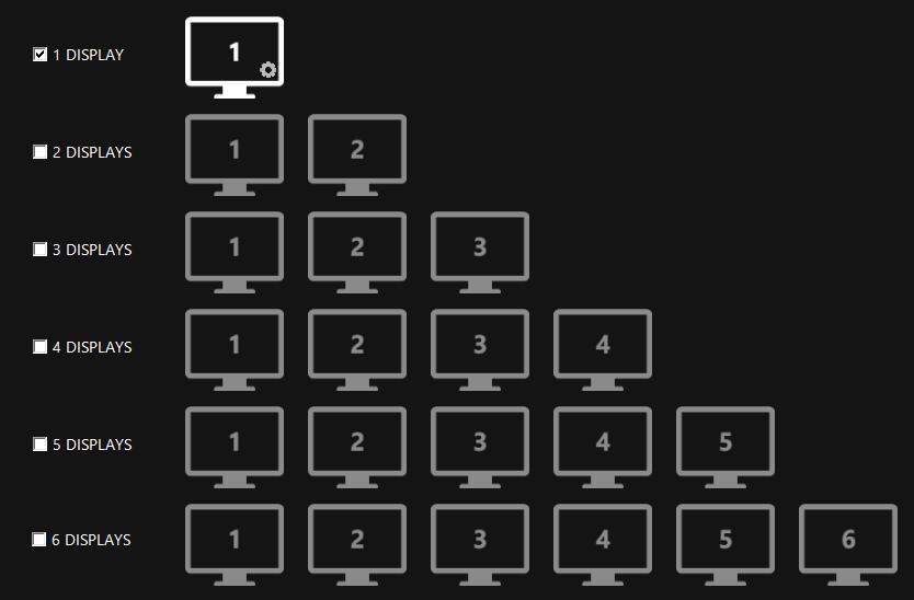 Jumlah layar dina Easy Multi Display