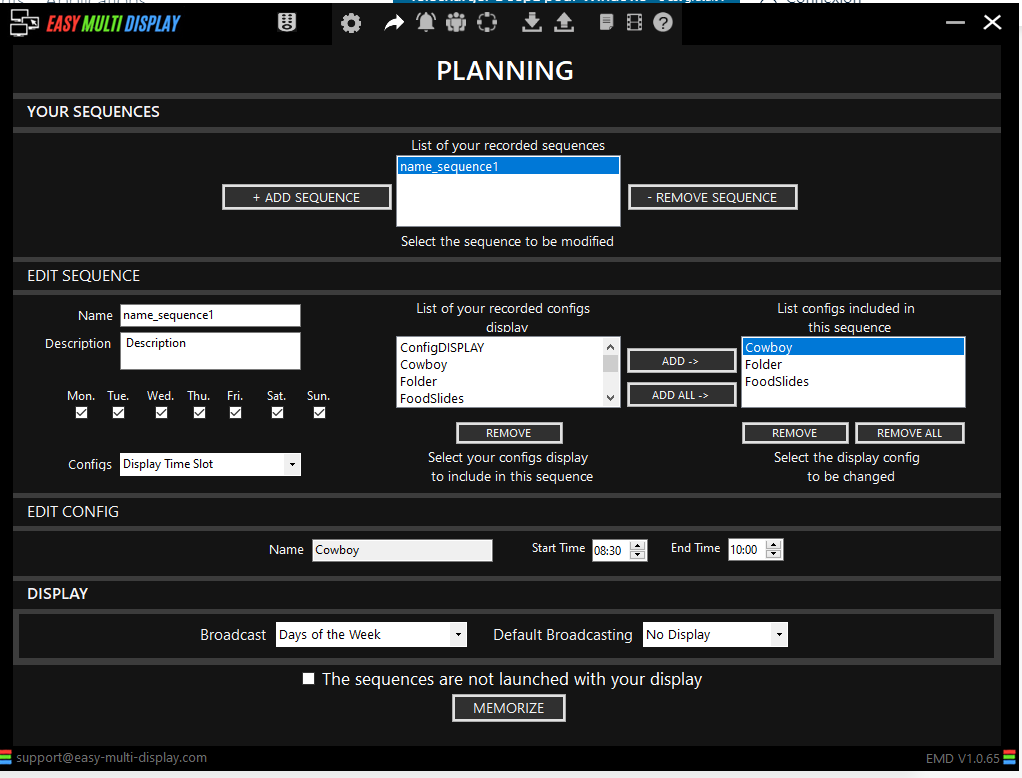 The planning interface